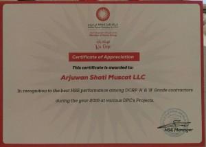 DPC 2016 Best HSE performance (among A & B grade contractors)