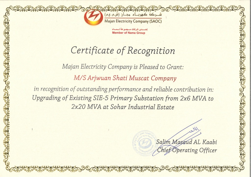 Certificate Of Recognition For Outstanding Performance Asm